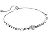 Michael Kors Pave Hearts Tone And Clear Crystal Bead Slider Bracelet Silver Bracelet