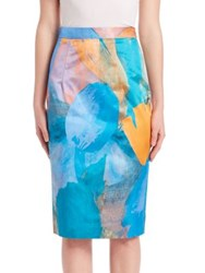 Milly Watercolor Printed Silk Blend Pencil Skirt Teal