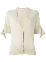 Barrie 'First Alchemy' Short Sleeve Detail Cardigan Nude And Neutrals