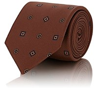Drakes Medallion Print Silk Twill Necktie Brown