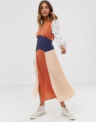 Glamorous Midaxi Dress With Front Splits In Mix And Match Print Multi
