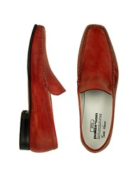 Pakerson Red Italian Handmade Leather Loafer Shoes