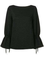 Osman Quilted Tie Sleeve Top Black