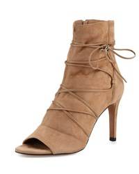 Vince Adisa Lace Up Open Toe Ankle Boot Sand Brown Women's