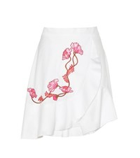Carven Embroidered Cotton Skirt White