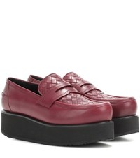 Bottega Veneta Platform Leather Loafers Red