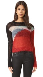 R 13 Cropped Open Knit Mohair Sweater Multicolor