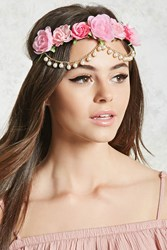 Forever 21 Floral Chain Headwrap Pink Multi