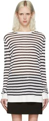 Alexander Wang T By Navy And Ivory Striped T Shirt