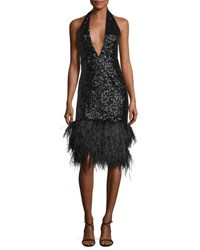 Milly Amelia Plunging Halter Sequined Cocktail Dress Black
