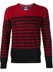 Junya Watanabe Comme Des Garcons Man V Neck Striped Sweater Red