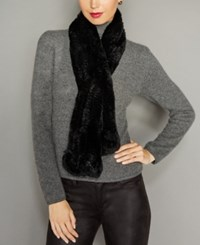 The Fur Vault Rosette Knitted Rex Rabbit Scarf Black