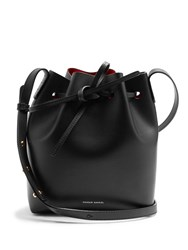Mansur Gavriel Red Lined Mini Leather Bucket Bag Black Red