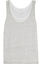 Majestic Layered Slub Linen Tank Light Gray