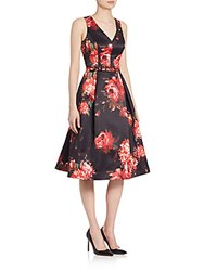 Rickie Freeman For Teri Jon Sleeveless Floral Dress Black Multi