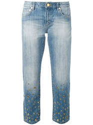 Michael Michael Kors Embellished Denim Jeans Women Cotton Brass 8 Blue