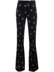 Victoria Beckham Strawberry Print Flared Trousers Blue
