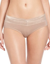 Warner's Lace Trimmed Hipster Panties Toasted Almond