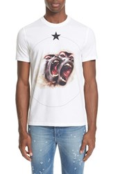 Givenchy Men's 'Monkey Brothers' Graphic T Shirt White