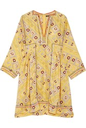 Isabel Marant Thurman Embroidered Printed Silk Dress Pastel Yellow
