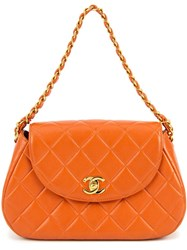 Chanel Vintage Chain Handbag Yellow And Orange