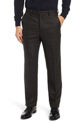 Berle Flat Front Herringbone Wool And Cashmere Trousers Dark Olive