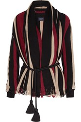 Lanvin Fringed Sriped Wool Cardigan Black