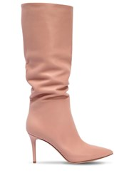 Gianvito Rossi 85Mm Slouchy Nappa Leather Boots Blush