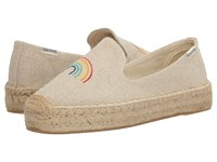 Soludos Rainbow Embroidered Platform Smoking Slipper Sand Women's Slippers Beige