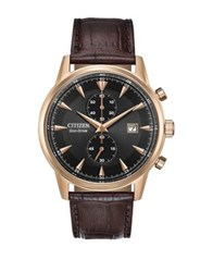 Citizen Eco Drive Leather Strap Watch Brown