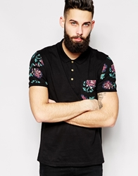 Asos Polo Shirt With Floral Sleeves And Pocket Black