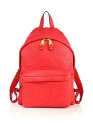 Moschino Logo Embossed Leather Backpack Red