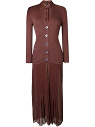 Jean Paul Gaultier Vintage Cardigan Shirt Dress Brown