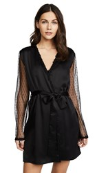 Flora Nikrooz Showstopper Charmeuse Robe With Lace Black