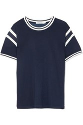 Alexander Wang T By Striped Stretch Jersey T Shirt Navy