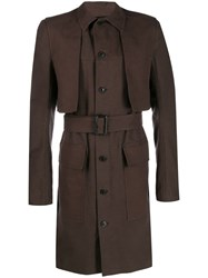 Rick Owens Single Breasted Trench Coat Neutrals