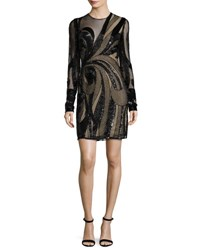 Naeem Khan Long Sleeve Sequined Illusion Cocktail Dress Black