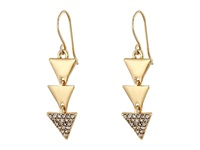 Lauren Ralph Lauren Curacao French Wire Triangle Metal Pave Linear Earrings Crystal Gold Earring