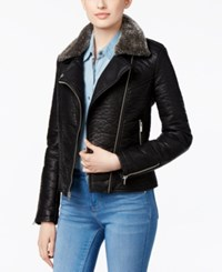 Rachel Roy Faux Fur Collar Bomber Jacket Only At Macy's Black