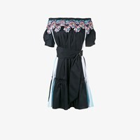 Peter Pilotto Off Shoulder Embroidered Dress Blue