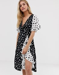 Influence Frill Skirt Detail Midi Dress With Wrap Front In Mix And Match Polka Dot Print Black And White Polka