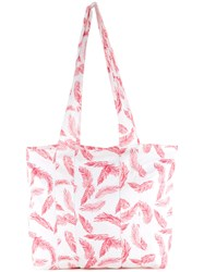 Dalood Leaf Print Beach Bag Red