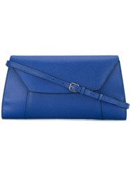 Valextra Horizontal Envelope Clutch Women Calf Leather One Size Blue