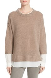 Brochu Walker Women's 'Looker' Layered Crewneck Sweater Wicker Melange