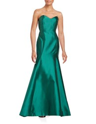 Erin Fetherston Strapless Satin Mermaid Gown Emerald