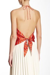 Julie Brown Silk Print Halter Red