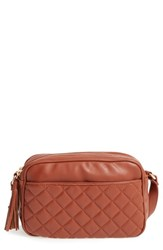 Emperia Quilted Camera Faux Leather Crossbody Bag Brown Cognac