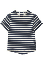 Adam By Adam Lippes Split Back Striped Cotton Top