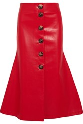 A.W.A.K.E. Faux Leather Midi Skirt Red