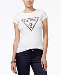 Guess Short Sleeve Beaded Logo Top True White